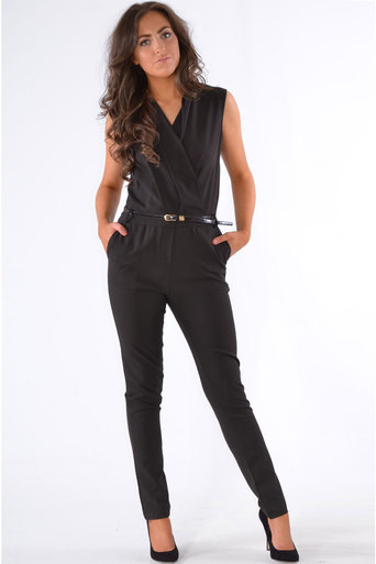 Kelda Tailored Crossover Belted Jumpsuit In Black at Pop Couture UK