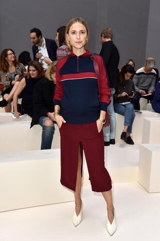 skirt fashion week pernille teisbaek midi skirt slit skirt top blouse hoodie pumps blogger burgundy slit