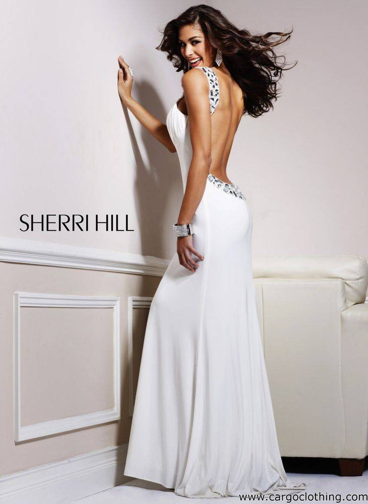 Sherri Hill 1453 Backless Jewelled Dress White Silver US 4 UK 8 | eBay