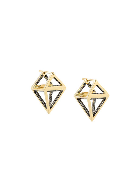 Noor Fares women earrings gold yellow grey metallic jewels