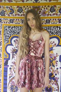 My sunday feeling — 'cross my heart' mini velvet rose jumpsuit