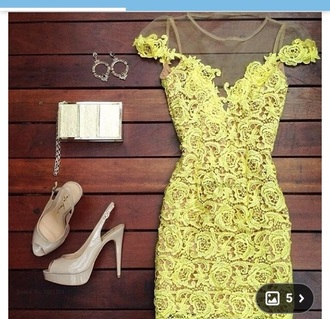 dress yellow dress floral dress lace dress