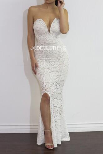 dress white white dress lace dress slit love mermaid bustier sexy dress sweetheart neckline