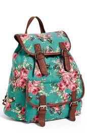 bag,backpack,floral,ocean blue,floral backpack