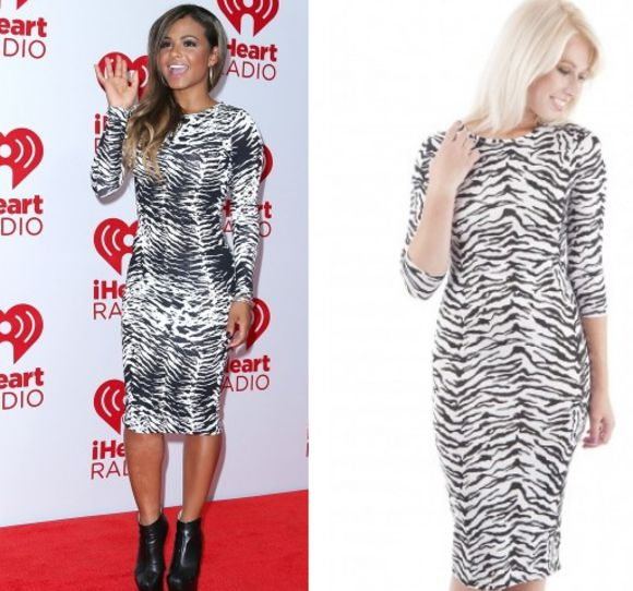 zebra print zebra dress bodycon dress christina milian bandage dress celebrity dresses dress