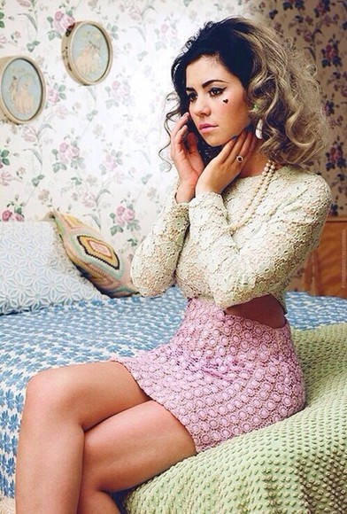 pink skirt lace dress marina and the diamonds pearls, necklace vintage dress
