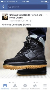 shoes,air force 1 boots,nike,nikes,black boots,nike air force 1,black,gum,boots,nike air force,air force 1's,gum sole