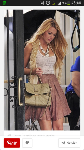 skirt serena van der woodsen blake lively brown skirt shirt tank top jewels jacket blouse outfit