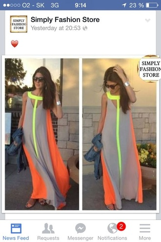 dress grey orange neon maxi dress