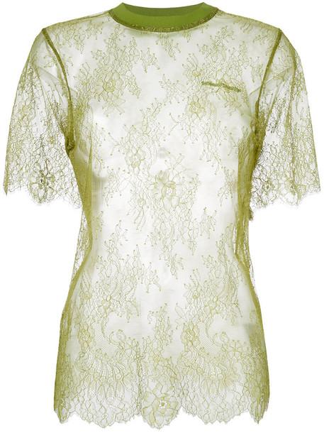 Off-White t-shirt shirt t-shirt women spandex lace cotton green top