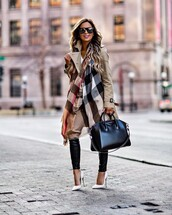 coat,scarf,tumblr,camel,camel coat,trench coat,bag,black bag,pants,black pants,black leather pants,leather pants,pumps,pointed toe pumps,high heel pumps,white heels,work outfits,office outfits