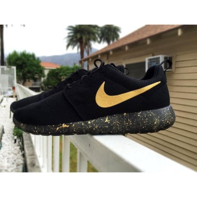 New Custom Nike Gold Splattered & Black Roshe One