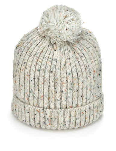 Flecked Pom-Pom Beanie Hat - Marks & Spencer