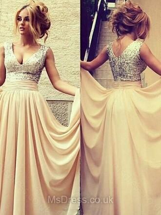 dress a-line prom dress prom dress v neck chiffon floor-length