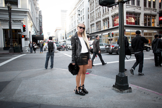victoria tornegren blogger leather skirt cut out ankle boots leather jacket shoes skirt bag jacket leggings
