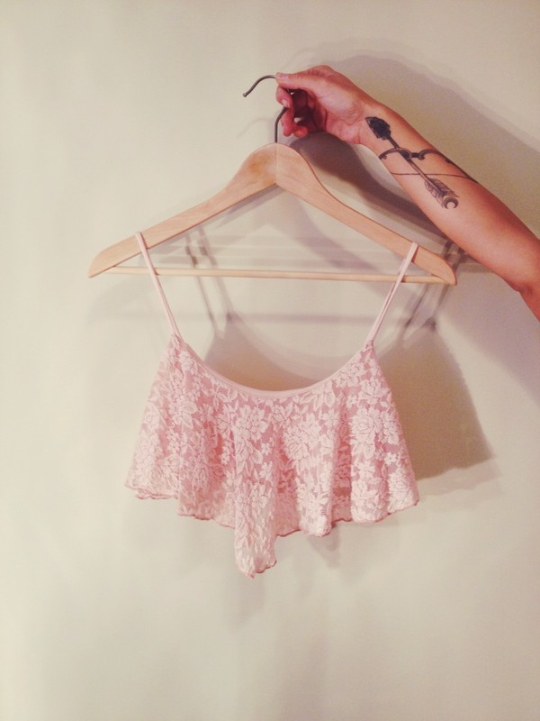 shirt pink crop tops lace flowy top
