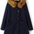 Navy Faux Fur Hooded Pockets Woolen Coat - Sheinside.com