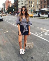 skirt,gucci ace sneakers,gucci,gucci shoes,gucci bag,dionysus,sneakers,low top sneakers,white sneakers,floral sneakers,mini skirt,blue skirt,denim skirt,zipped skirt,shirt,checkered,checkered shirt,puffed sleeves,three-quarter sleeves,sunglasses,black choker,choker necklace