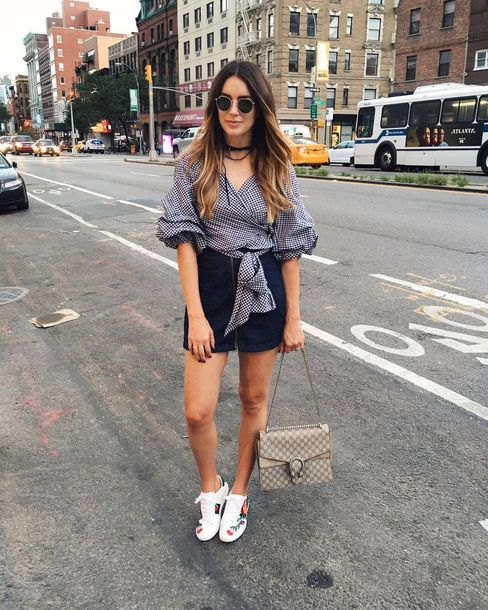 skirt gucci ace sneakers gucci gucci shoes gucci bag dionysus sneakers low top sneakers white sneakers floral sneakers mini skirt blue skirt denim skirt zipped skirt shirt checkered checkered shirt puffed sleeves three-quarter sleeves sunglasses black choker choker necklace