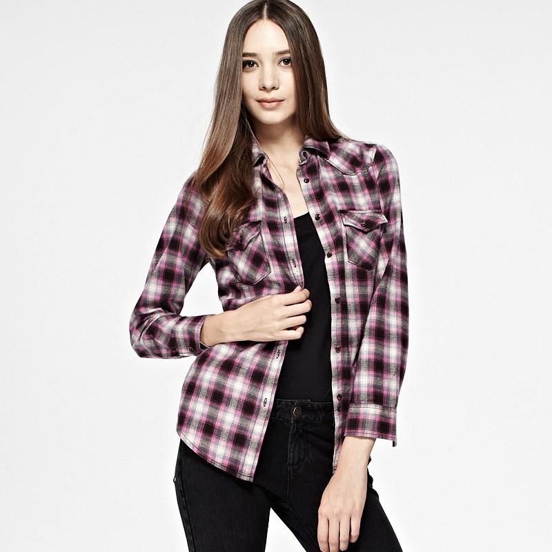 Plaid Flannel Shirt (Women) Coffee/Burgundy Raina Plaid Flannel ...