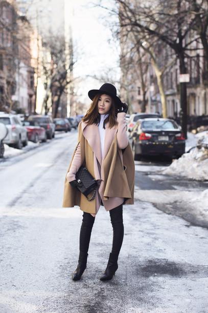 tsangtastic blogger poncho camel cardigan pants hat shoes bag