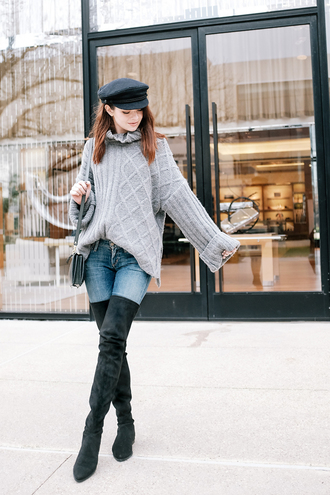 sea of shoes blogger shoes jeans hat bag le fashion image sweater grey cable knit sweater fisherman cap