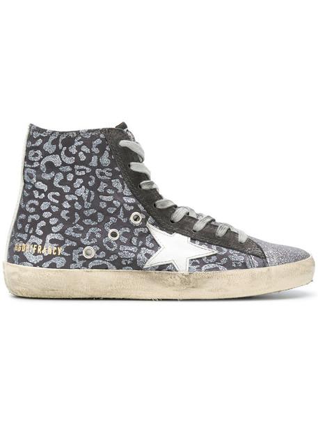 GOLDEN GOOSE DELUXE BRAND women sneakers leather suede grey metallic shoes