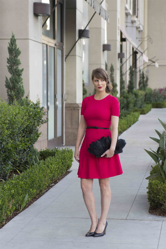 styleegrace blogger dress belt bag shoes red dress high heel pumps pumps mini dress