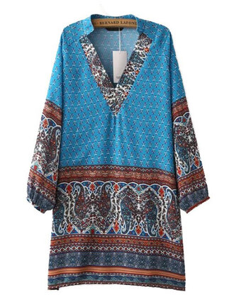 dress brenda-shop tunic dress tunic boho boho chic boho dress bohemian bohemian dress paisley floral floral dress pattern patterned dress mini dress summer summer dress beach beach dress beautiful blue blue dress