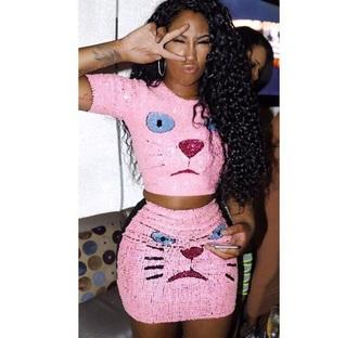 skirt pink cats top
