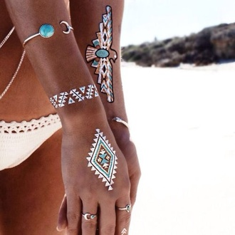 jewels tatoo sleeve indie boho indie hippie boho chic chic hippie chic beach temporary tattoo