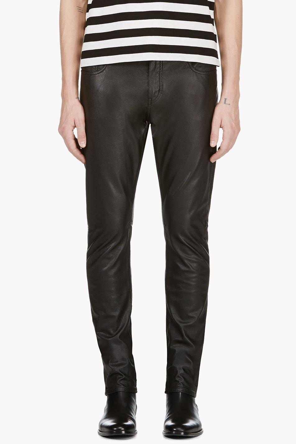 Saint laurent black faux leather jean cut pants