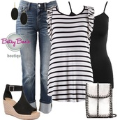 blouse,ootd,jeans,shoes,earrings,stripes,black,white,fashion,style