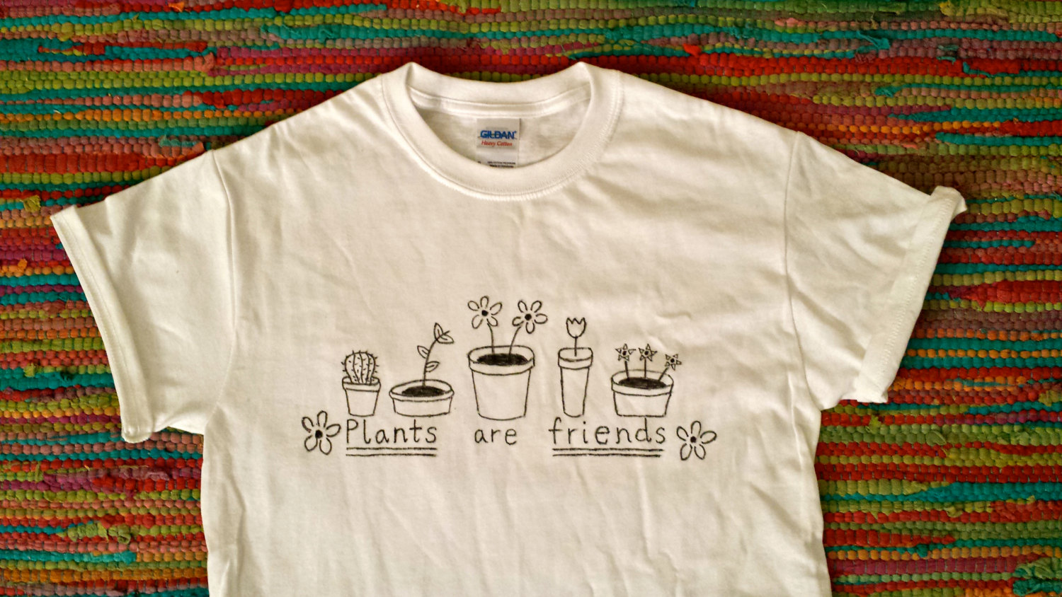 Plants are Friends Shirt - Handmade