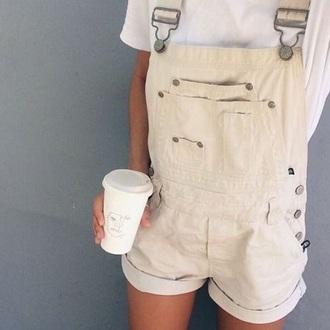 romper overalls cream shorts pants