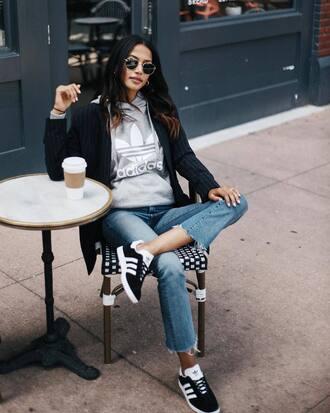 jacket tumblr blazer black blazer sweatshirt adidas denim jeans blue jeans shoes sneakers low top sneakers adidas shoes top sunglasses
