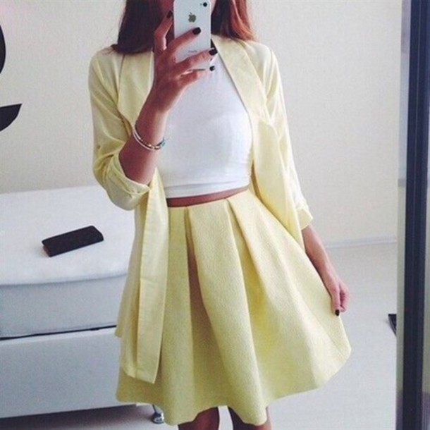skirt yellow womens suit pastel pastel yellow pleats spring crop jacket matching set