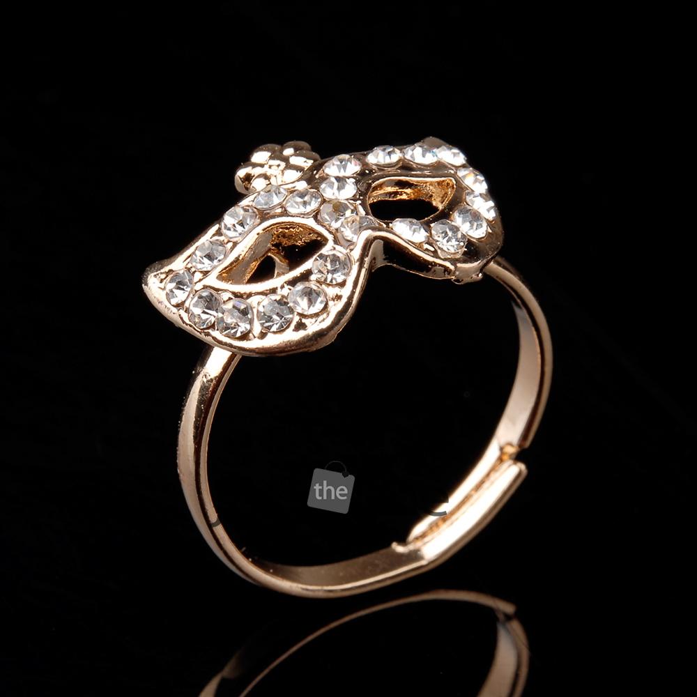1 Pcs Fashion Womens Lady Glitter Rhinestones Mask Bow Style Rings Finger Decor | eBay