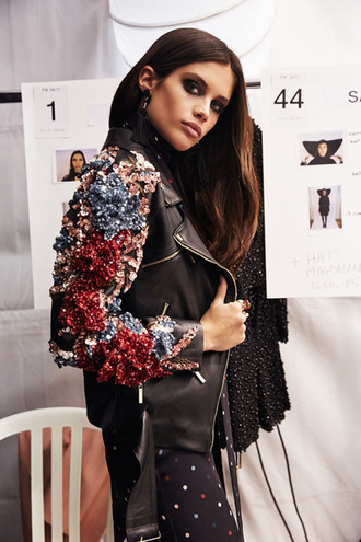 jacket tumblr black jacket embellished embellished jacket black leather jacket leather jacket sara sampaio model