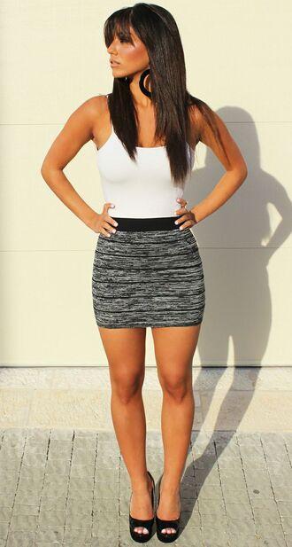 skirt bodycon grey burnout black highwaist short