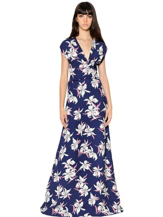 dress floral silk navy