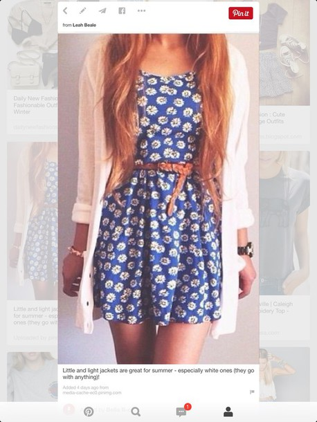 dress blue floral dress cardigan belt