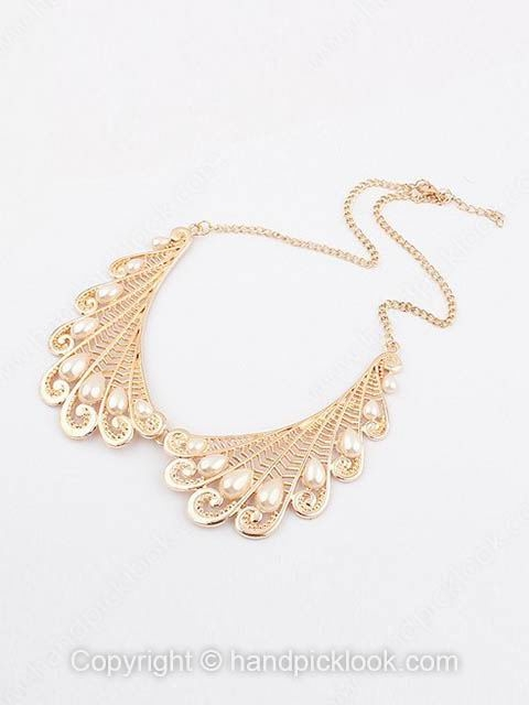 Gold Pearl Trendy Chain Necklace - HandpickLook.com