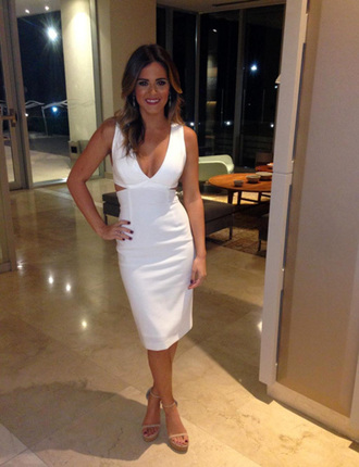 dress white white dress sandals jojo fletcher midi dress cut-out dress plunge dress v neck dress the bachelorette