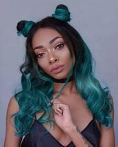 hair accessory,tumblr,hair bun,black choker,hairstyles,hair,green hair,long hair,make-up,choker necklace
