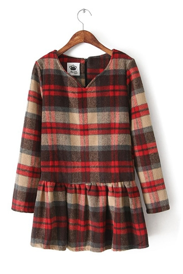 Vintage Tartan Check Frilly Dress [FXBI00389] - PersunMall.com