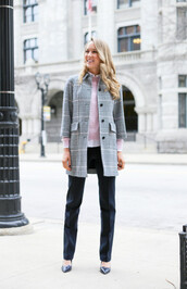 the classy cubicle,blogger,pants,grey coat,tartan,office outfits,classy,coat,sweater,shirt,shoes