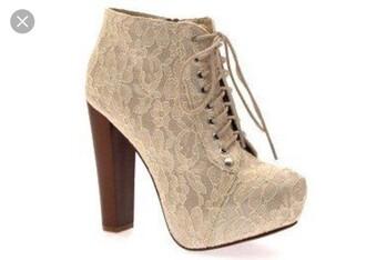 shoes cream lace