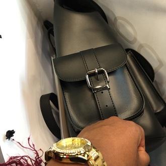 bag black fashion bag pack leather bag