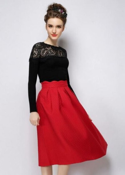 Skirt: red skirt, red midi skirt, high waisted skirt, knee length ...